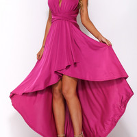 V-Neck Ruched Double Strap Backless Asymmetric Dress