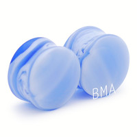 "11/16"" (18mm) Blueberries N' Cream Glass Plugs #1111"