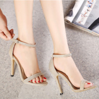 Summer Fashion Buckle Band Exposed Toe Sandals Ladies Heels Shoes Rome Shoes