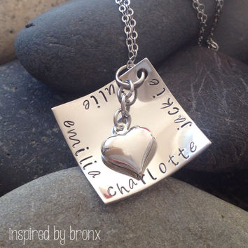 Hand stamped personalized necklace, spiral design, Stainless Steel square, square charm, square jewelry, names, custom