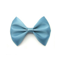 Antique Blue Satin Bow, Classic Hair Bow, Toddler, GIrl, Infant Hairbows, 3 Inch Bow, Pantone Spring 2013 Dusk Blue, Handmade