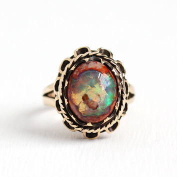Vintage 18k Rosy Yellow Gold Boulder Opal Gemstone Ring - Retro 1950s Size 6 3/4 Oval Cabochon October Birthstone Gem Statement Fine Jewelry