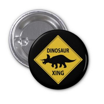 Dinosaur Xing 1 Inch Round Button