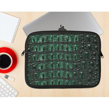 The Vivid Green Crocodile Skin Ink-Fuzed NeoPrene MacBook Laptop Sleeve