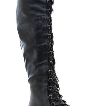 ddc3ac106ec Knee High Lace Up Riding Faux Leather Thigh High Combat Boots