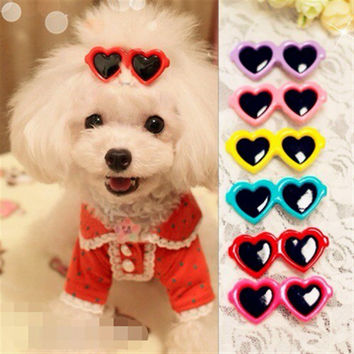 Fashion Pet Dog Hair Bows Clips Love Style Doggie Boutique sunglasses Pet Grooming