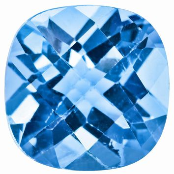 Loose Blue Topaz Gemstone  8mm Cushion Checkerboard AA Quality