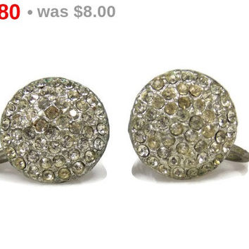 Pave Set Rhinestone Button Earrings