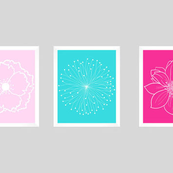 Set of 3 White Flower Blossoms on Pinks and Aqua Prints CUSTOM COLORS Modern Art Prints for Nursery Decor Custom Colors Modern prints  8x10