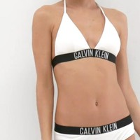 "Hot ""Calvin Klein"" Summer Women White Beach Bikini Halter Black Letter Edge Bandage Two Piece Bikini Swimwear Bathing"