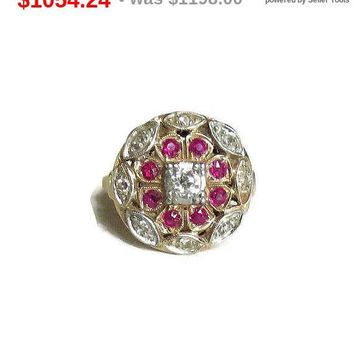 SALE Art Deco 14K Gold, Diamond and Ruby Ring Vintage Antique Size 5.75