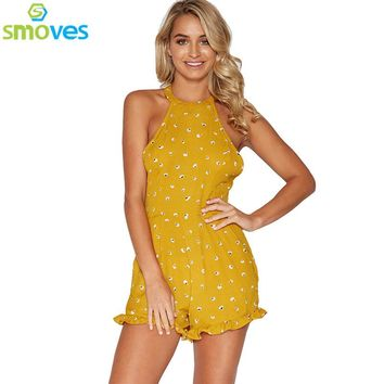 Smoves Backless Halter Yellow Floral Print Womens Playsuit Bohemian Ruffles Jumpsuit Summer Spring Romper Overalls Shorts New