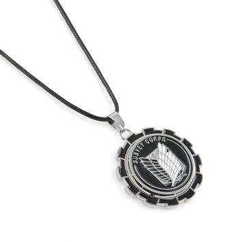 Metal wheel gear Anime Attack on Titan Wings of Liberty Pendant Necklace Shingeki no Kyojin Cosplay Necklace Survey Corps Choker