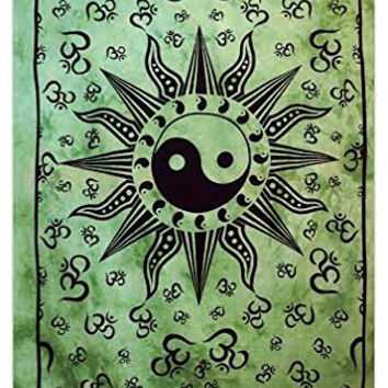 Ying Yang Tapestry, Indian Cotton Tapestries, Twin Size Sheets, Om Wall Hanging, Green Dorm Room Tapestries, Wall Décor Bedspread TP1704
