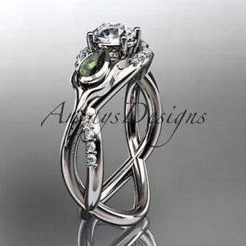 Unique 14kt white gold diamond tulip flower, engagement ring ADLR226