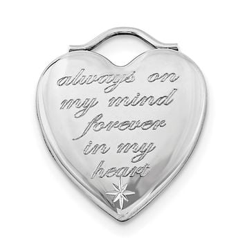 Sterling Silver Rhodium-plated Always On My Mind Forever In My Heart Locket
