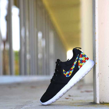 Custom Autism Puzzle Print Nike Roshe Run Shoes Fabric Design Hand Made Personalized 2015 CUSTOMIZED Charity