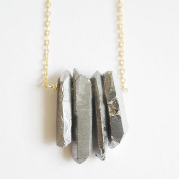 Grey Silver titanium Raw Crystal Point Quartz gold Long Necklace, simple, natural, gem, rose crystal unique eco friendly