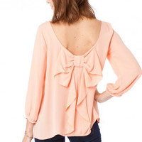 Peach Parisian Bow Blouse