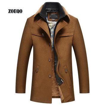 ZOEQO New Fashion men's woolen coat male silk liner thick winter jacket and coat autumn jackets mens black and khaki