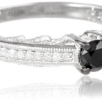 Sterling Silver Black and White Diamond Fashion Ring (0.5 cttw, H-I Color, I1-I2 Clarity)