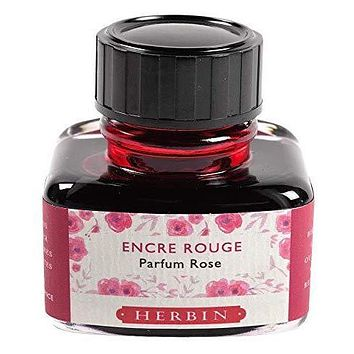 J Herbin Scented Fountain Pen Ink - 30 mL Bottle - Red / Rose Scented