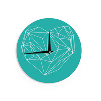 "Mareike Boehmer ""Heart Graphic Turquoise"" Teal Abstract Wall Clock"