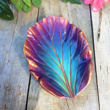 Jewelry dish or catchall bowl - Concrete cast leaf in blues and purples