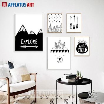 AFFLATUS Explore Bear Arrow Wall Art Canvas Painting Black White Posters And Prints Wall Pictures Nordic Style Kids Decoration