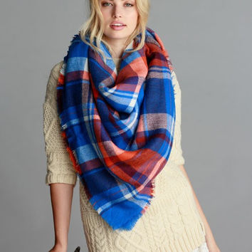 Keep Me Warm Blanket Scarf in Blue/Organge