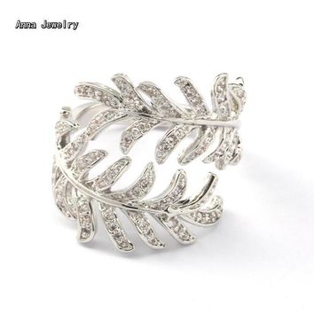 The Most Dazzling Designer Stones Leaf Ring,Stainless Steel with Full Zircons Studded,Elegant Shiny Wedding Rings for Women