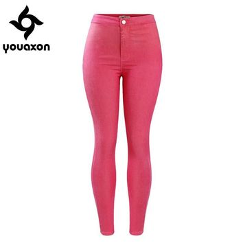 2040 Youaxon Women`s Celebrity Style Cute High Waist Stretch Skinny Denim Jean Pants Jeans For Woman