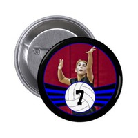 Blue & Black Volleyball Photo and Jersey Number Button