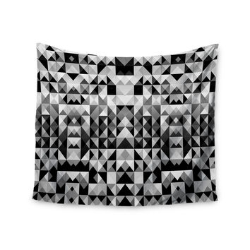 "Nika Martinez ""Geometrie Black & White"" Gray Wall Tapestry"