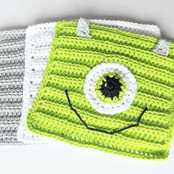 Crochet Wash Cloths - Cotton Crocheted Wash Cloths - Baby Wash Cloths - Monsters Inc Mike Crochet Washcloths - Mike Crochet wash Cloths