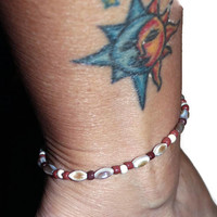 Beaded Anklet, Anklet Made With Shell Beads, 10 Inch Anklet