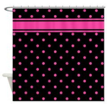 Pink Polka Dots Black Background Shower Curtain> Shower Curtains> We Tees You