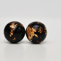 Black And Gold Leaf Resin Post Earrings, Black Stud Earrings, Gold Flakes Spehere Stud Earrings