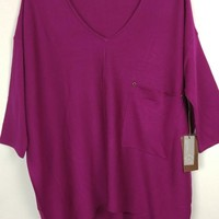 Kerisma Raven Slouchy Knit Sweater Pocket Top - Dk. Fuchsia