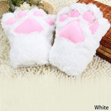 Cool Fluffy Bear Cat Plush Paw/Claw Glove Novelty Halloween Soft Toweling Half Covered Women's Gloves Mittens