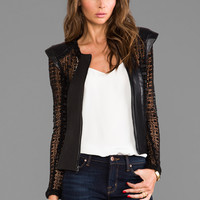 Alexis Laurence Jacket With Back Zipper and Leather Details in Geometric Black