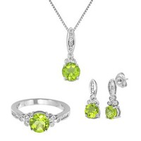 Peridot & Lab-Created White Sapphire Pendant, Earring & Ring Set in Sterling Silver - August - Birthstones - Jewelry - Helzberg Diamonds