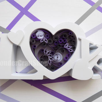 love of my life, love heart, wedding anniversary gift, gift for wife, be mine, in love, purple heart, grey heart, heart frame, amethyst,