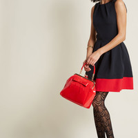 Closet London Luck Be a Lady A-Line Dress in Black & Red