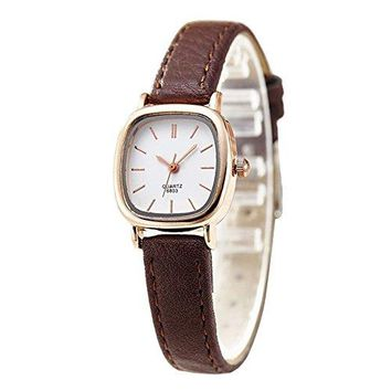 Gets Women Small Wrist Watches Leather Strap Unique Simple Square Watch Analog Classic Watch