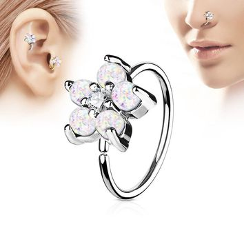 316L Stainless Steel Synthetic Opal Flower Nose Hoop / Cartilage Earring