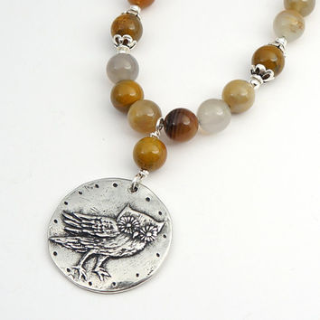 Golden agate owl necklace, earthtones jewelry, brown 20 inches 50cm