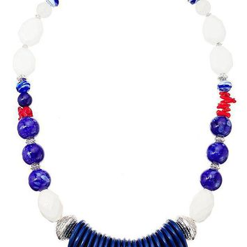 CREYV2S Lonna & Lilly Silver-Tone and Blue Large Beaded Collar Necklace, 24' + 4' Extender