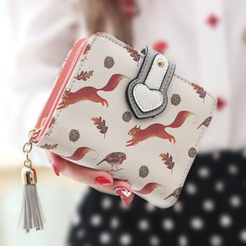 Colorful Lady Lovely Coin Purse Solid Golden Heart Clutch Wallet Cute Card
