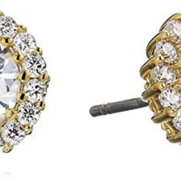 "CZ by Kenneth Jay Lane ""Basic"" 4cttw Round Cubic Zirconia with Pave Trim Post Classic Stud Earrings"